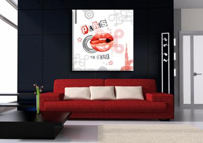 tableau white lips red de paris monpopart. Black Bedroom Furniture Sets. Home Design Ideas