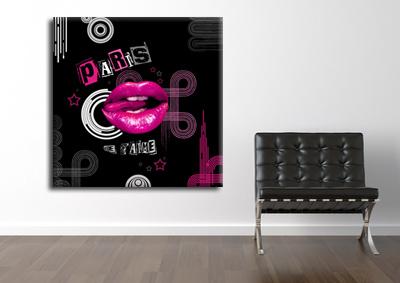 tableau lips pink de paris monpopart. Black Bedroom Furniture Sets. Home Design Ideas
