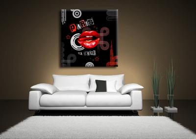tableau lips red de paris monpopart. Black Bedroom Furniture Sets. Home Design Ideas