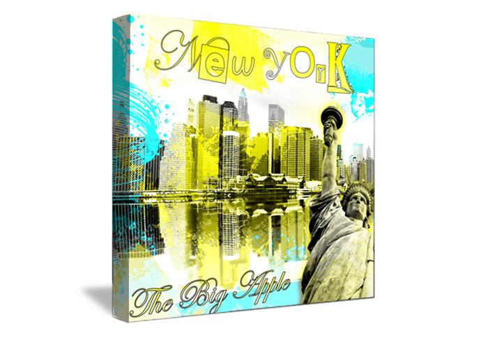 Tableau wild yellow de new york monpopart - Tableau deco new york ...
