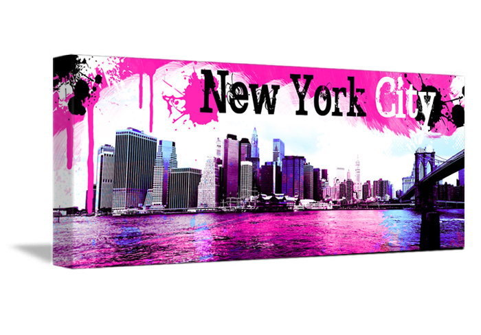 tableau pano pink de new york monpopart. Black Bedroom Furniture Sets. Home Design Ideas
