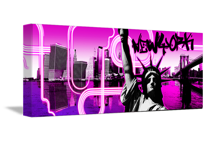 Tableau panno fushia de new york monpopart - Tableau de new york ...
