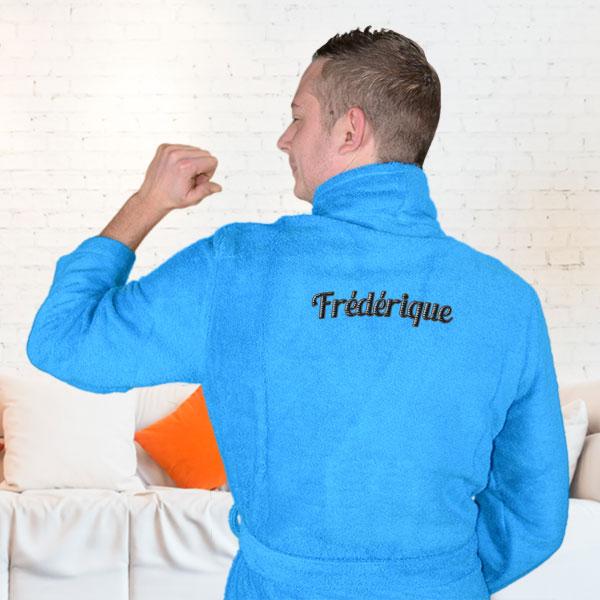 peignoir homme brod et personnalis bleu turquoise pop art tableau de d coration tableau. Black Bedroom Furniture Sets. Home Design Ideas