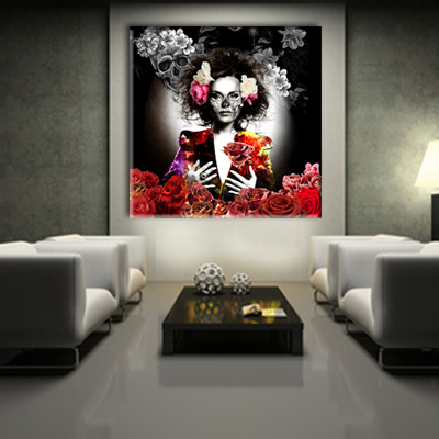 tableau lady skull monpopart. Black Bedroom Furniture Sets. Home Design Ideas