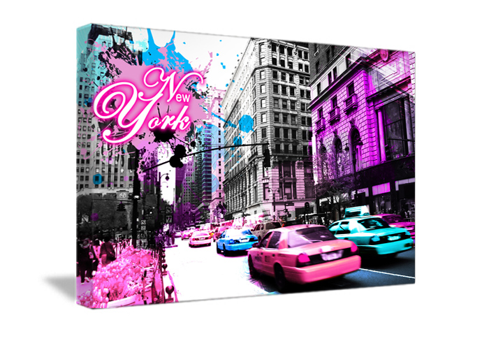 tableau street pink de new york monpopart. Black Bedroom Furniture Sets. Home Design Ideas